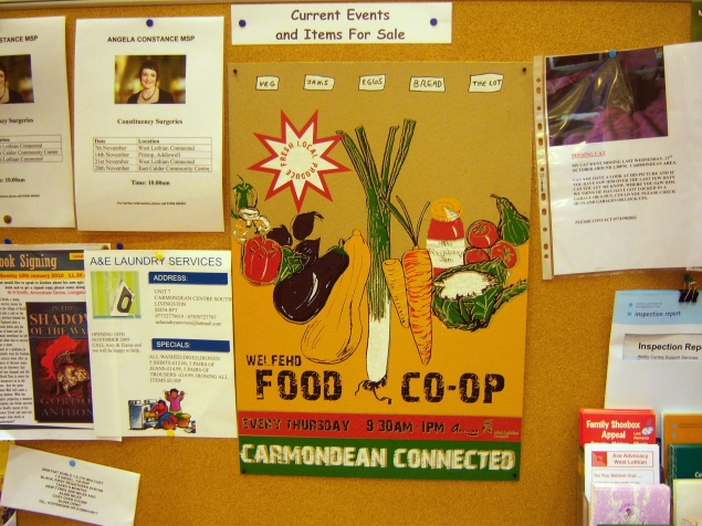 Food Coop poster, Carmondean connected, Livingston.