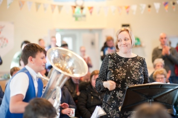 Karen Heenan, conductor with Newlands Junior Brass band is a teacher at Boghall Primary and is keen to do more performances with us in 2019.